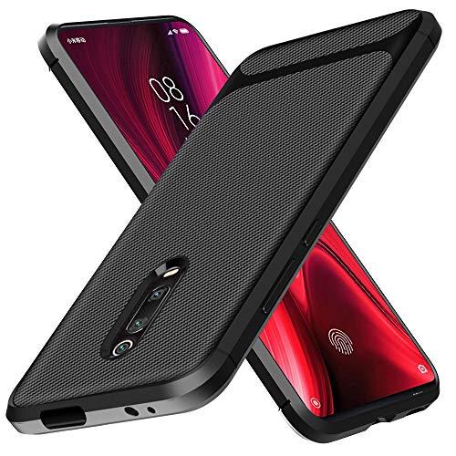 BESTCASESKIN Funda Xiaomi Mi 9T / Xiaomi 9T Pro Carcasa [Textura Fibra de Carbono] Ligera Silicona Suave Slim Fit TPU Case [3D Cristal Templado] Protección Cover Ultrafina Caso Bumper, Negro
