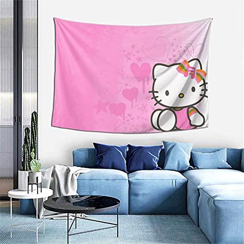 Hello Cartoon KittyTapestry - Tapiz para decorar dormitorios, salas de estar y dormitorios (152 x 102 cm), suave y duradero
