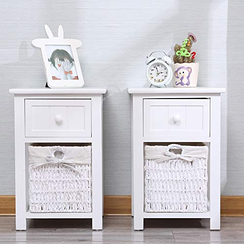 EXQUI Bedside Table Set of 2 White Wooden Night Stand Storage Units Cabinets with Drawer and Removable Wicker Woven Basket for Bedroom Living Room,28x30x45cm, G141W2