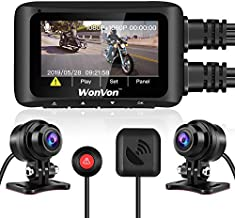 """WonVon MT1 Motorcycle Dash Cam 1080P 2.7"""" LCD Motorcycle Recording Camera Dual Lens Front and Rear Camera Built-in WiFi, with GPS module, Night Vision, G-Sensor, Loop Recording,Support 256GB max (MT1)"""