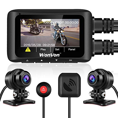 """Motorcycle Camera Waterproof, WonVon MT1 1080P Front and Rear Motorbike Recording Dash Cam with 2.7"""" LCD Display Built-in WiFi, GPS Module, Night Vision, G-Sensor, Loop Recording for Sportbike Rider"""