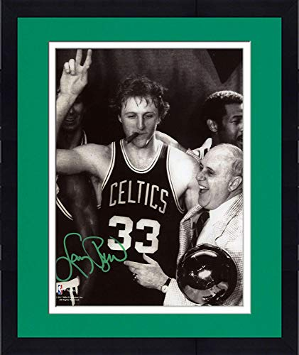 Framed Larry Bird Boston Celtics Autographed 8'' x 10'' Celebration with Auerbach Photograph with Green Ink - Autographed NBA Photos