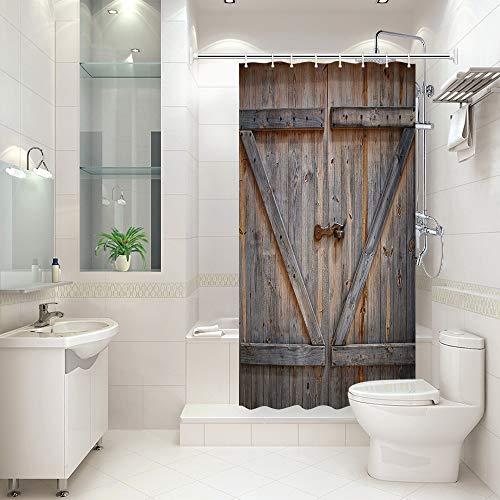 KOTOM Rustikaler Duschvorhang, rustikale Holzscheunentür, Polyestergewebe, Badvorhänge mit Haken, 91 x 188 cm (B x L)