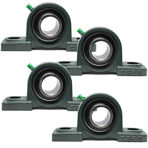 "PGN - UCP206-20 Pillow Block Mounted Ball Bearing - 1-1/4"" Bore - Solid Cast Iron Base - Self Aligning (4 PCS)"