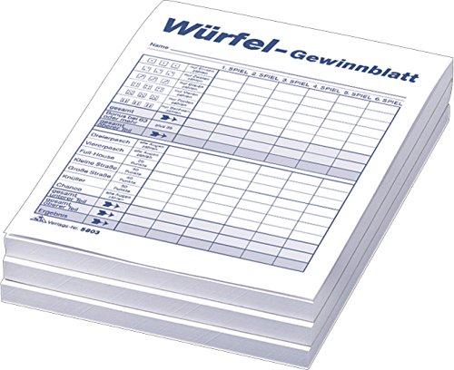RNK 5803 - Würfelspiel-Gewinnblatt-Block, DIN A6, 3 x 85 Blatt