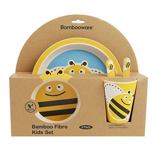 ORNAMI 5-teiliges Bambus-Geschirrset für Kinder, Biene Design - Kinder-Geschirrset mit Teller, Kleinkindbesteck, Bambusfaser Schale und Kinderbecher - umweltfreundlich, BPA-frei und spülmaschinenfest