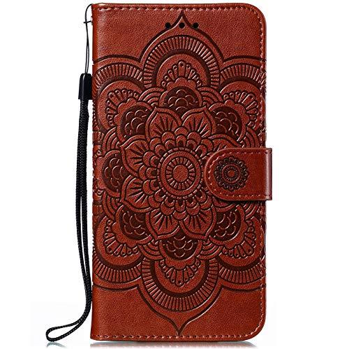 CTIUYA Hülle für Nokia 5.1 Plus, Handyhülle Schutzhülle Flip Hülle Tasche Hülle Leder Geldbörse Klapphülle Kartenfach Brieftasche Magnet Handytasche Lederhülle für Nokia 5.1 Plus,Braun