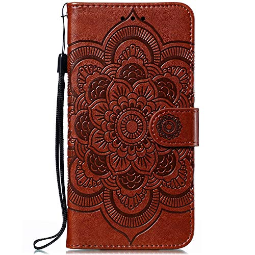 CTIUYA Hülle für Nokia 5.1 Plus, Handyhülle Schutzhülle Flip Case Tasche Hülle Leder Geldbörse Klapphülle Kartenfach Brieftasche Magnet Handytasche Lederhülle für Nokia 5.1 Plus,Braun