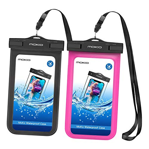 MoKo Waterproof Phone Pouch [2 Pack], Underwater Cellphone Case Dry Bag with Lanyard Armband Compatible with iPhone 12 Mini/12 Pro, iPhone 11 Pro Max, X/Xs/Xr/Xs Max/8, Samsung S21/S10/S9, Note 10