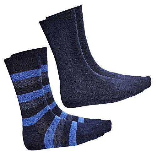 vitsocks Herren Socken aus Premium Merino Wolle (2x Pack) Streifen & einfarbig, blau jeans, 42-43