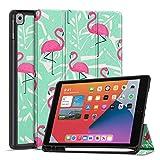 TNP Funda Compatible con iPad Air 8th 2020 / 7th 2019 10,2 Pulgadas, Carcasa Protectora Delgada Antigolpes de TPU con Función de Soporte para Lápiz y Auto-Sueño para Tabletas (Flamenco)