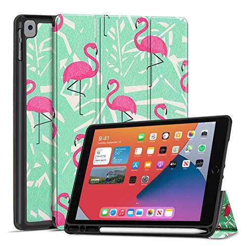 TNP Case for iPad 8th Gen 2020 / iPad 7th 2019 Release - Slim Soft TPU Stand Protective Cover Sleeve with Pencil Holder, Auto Sleep Wake Compatible with iPad 8/7 Generation 10.2 inch (Flamingo)