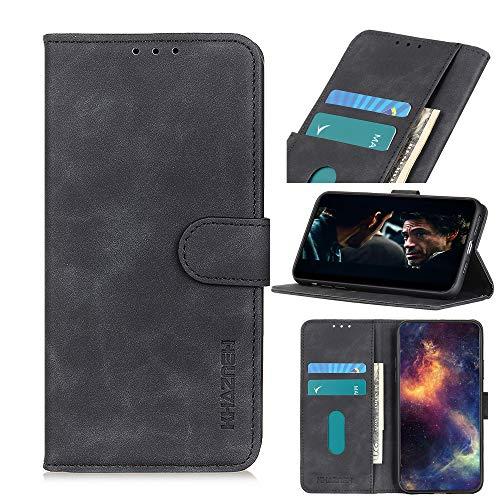 ROVLAK Hülle für LG K22 Wallet Flip Hülle mit Kartenslot Stoßfeste PU Leder Hülle+Innenseite TPU Silikon Hülle mit Kickstand Tasche für LG K22 Smartphone,Schwarz