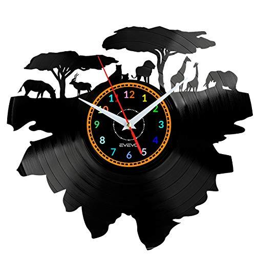 EVEVO Savana Afrika Wanduhr Vinyl Schallplatte Retro-Uhr groß Uhren Style Raum Home Dekorationen Tolles Geschenk Wanduhr Savana Afrika