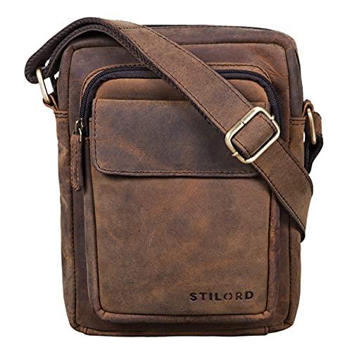 STILORD 'Jannis' Leder Umhängetasche Männer klein Vintage Messenger Bag Herren-Tasche Tablettasche für 9.7 Zoll iPad Schultertasche aus echtem Leder, Farbe:Colorado - braun