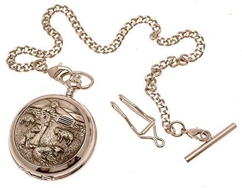 Grabado Incluido–Reloj de bolsillo color sólido peltre Fronted mecánico esqueleto reloj de bolsillo–pastor diseño 34