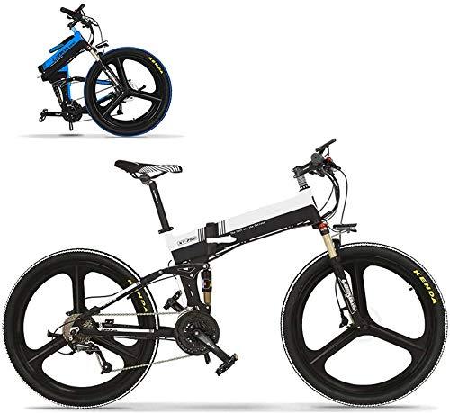 Leifeng Tower Alta Velocidad 26' Bicicletas eléctricas for Adultos, Plegable Bicicleta de montaña Bicicleta eléctrica 350W sin escobillas del Motor 48V portátil for al Aire Libre