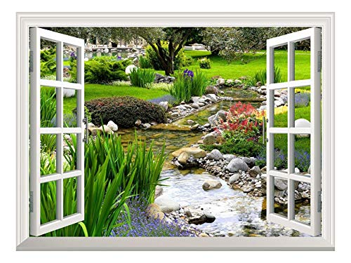 wall26 Removable Wall Sticker/Wall Mural Clear Spring and Green Grass Out of The Open Window...