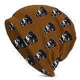 Gorro Beanie para Hombre Cachorros Rottweiler Sombrero de Punto Sombreros Suaves y cálidos Negro