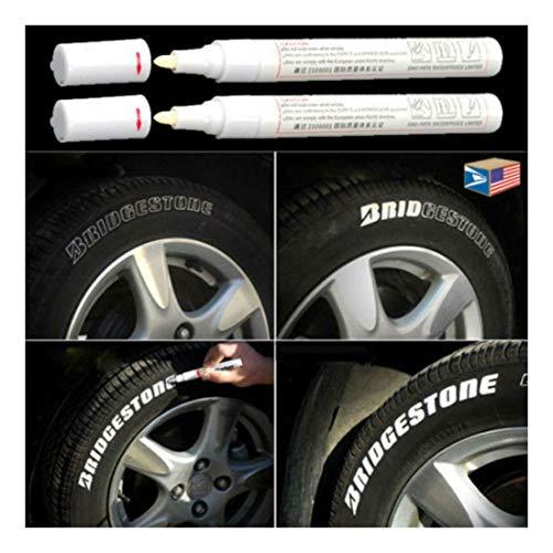 2 LOT TIRE Lettering White Paint Pen Whitewall SIDEWALL Rubber Letter Oil Marker