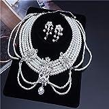 Elegante Rhinestone Perla Novia Collar joyería Perla Nekclace&Earring joyería de Boda Conjunto para la Fiesta de la Boda de la Novia ClipEarring