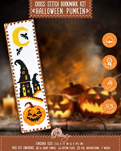 Halloween Pumpkin Jack-o'-Lantern Cross Stitch Kit - DIY Hand Embroidery Bookmark