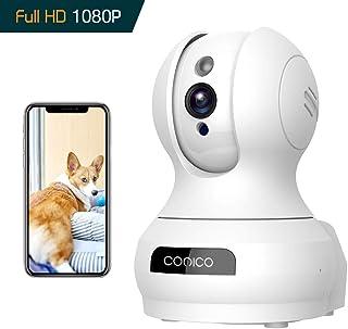 ネットワークカメラ Conico 1080P 200万画素 ベビーモニター IP監視防犯カメラ 高解像度 無線ワイヤレス屋内カメラ wifi 強化 遠隔スマホ操作 動体検知 警報通知 双方向音声 暗視機能 録画可能 技適認証済み ホワイト