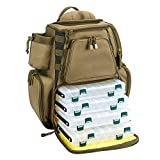 Piscifun Fishing Tackle Backpack with 4 Trays Large Capacity Waterproof Fishing Tackle Bag with 4 Tackle Boxes and Protective Rain Cover Khaki