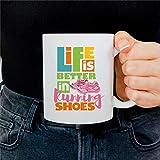 Taza de café con texto 'Life is Better in Running Shoes de Marathon Runner', regalo para corredores, posavasos de cerámica