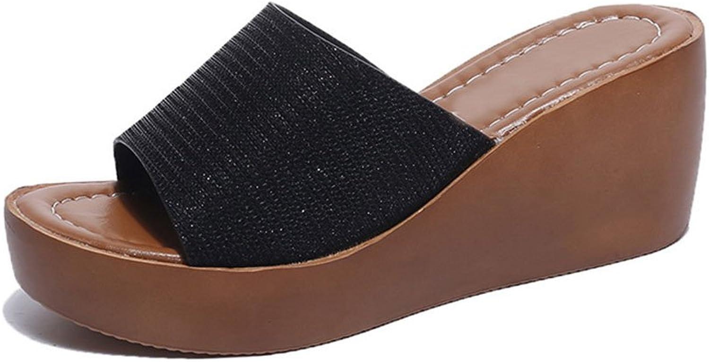 Women Sandal Platform Slippers Slippers Anti-Slip Wedges Fashionable Lightweight Slippers Sandals Indoor & Outdoor Black,White