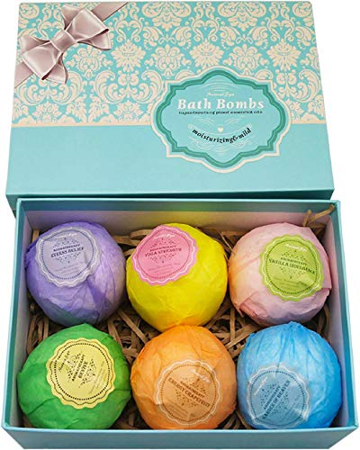 Bath Bombs Ultra Lush Gift Set By NATURAL SPA - 6 XXL All Natural Fizzies With Dead Sea Salt Cocoa...