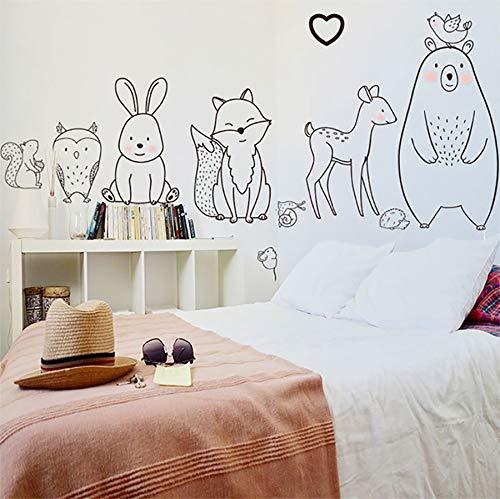 Pegatinas de pared de animales de dibujos animados oso tímido zorro bebé habitación de niños pegatinas de jardín de infantes creativas decoración del hogar papel tapiz suministro A18 45x120cm