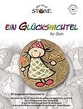 The Art of Stone Glückswichtel Stein GoldWeißRot mit Querrauten, individualisierbarer Glücksstein, von Hand bemalt