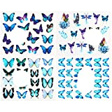 4 unids / set pegatinas de mariposa para uñas, calcomanías de acuarela, flores azules, deslizadores, envolturas, manicura, verano, decoración de uñas, TRSTZ984-1017-4 piezas STZ 1010-1013