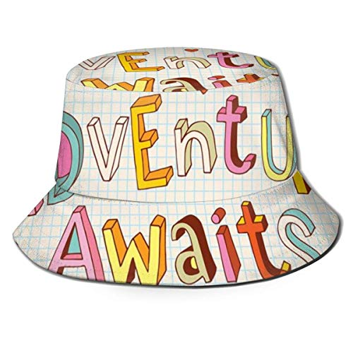Gorra de pescador unisex, diseño de dibujos animados, palmera, coco y cama de sol en arena, patrón de temporada de verano, sombrero de playa de viaje, multicolor 9
