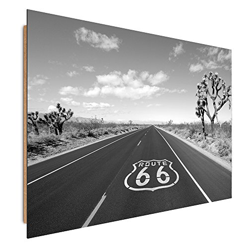Feeby Frames, Cuadro de Pared, Cuadro Decorativo, Cuadro Impreso, Cuadro Deco Panel, 60x80 cm, Route 66, Ruta 66, Blanco Y Negro