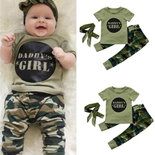 Bébé Ensemble de Vêtements,LMMVP 3pcs Infantile Bébé Fille Garçon Lettre Top + Camouflage Pantalon + Bandeaux Vêtements Ensemble (70(0-6M), 3Camouflage)