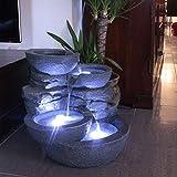 Arnusa Zimmerbrunnen mit LED Beleuchtung Innen und Außen Springbrunnen Gartenbrunnen