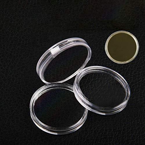 KoelrMsd Caja de Almacenamiento de Monedas 30 mm, Transparente, Redondo, en Caja, portamonedas, cápsulas de plástico, vitrinas, Organizador para Suministros de colección de Monedas