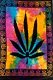 ICC - Póster con diseño de hoja de marihuana, cannabis, estilo hippie, bohemio y rastafari, tapiz para pared, arte psicodélico, 76 x 102 cm,