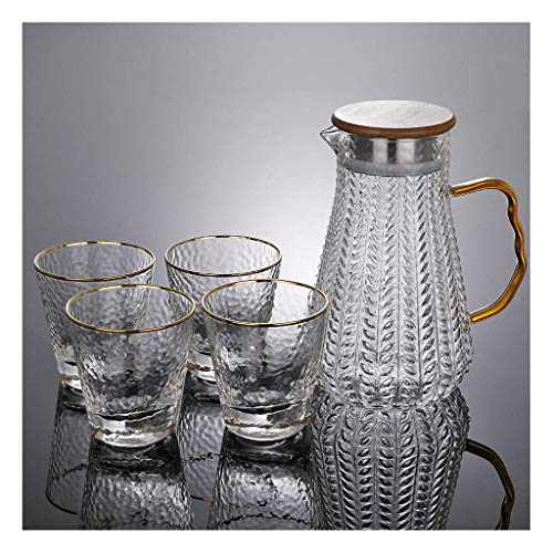 Cold Kettle Glass Set Heat-Resistant Explosion-Proof Hammer Pattern Teapot Living Room Large Capacity Thickening Jug Water Cup (Color : C)