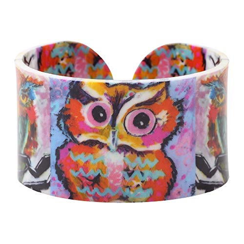 Acryl Eule Malerei Liebe Breite Armreifen Armband Schmuck Für Frauen New Animal Statement Schmuck Zubehör Durchmesser 7Cm