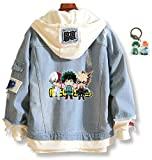 YOLEOLY Anime My Hero Academia Denim Jacket Deku Izuku Ochako Hoodie Costume Sweater Fleeces