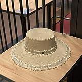Bonito sombrero de paja con parte superior plana, para veran