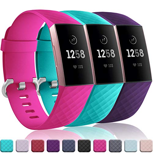 Wepro Bands Replacement Compatible Fitbit Charge 3 for Women Men Large, 3 Pack Sports Watch Band Strap Waterproof Wristband for Fitbit Charge 3 & Charge 3 SE Fitness Tracker, Teal, Rose Pink, Plum