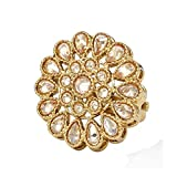 SANARA Indian Traditional Antique Bollywood Adjustable 18K Antique Gold Plated Reverse AD Stone Ring Women Wedding Jewelry