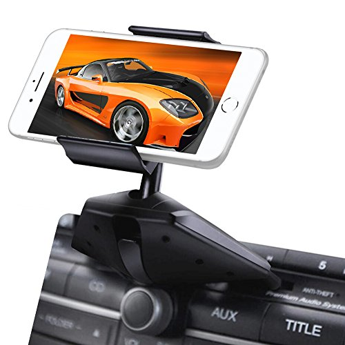 Upgraded IPOW One Button Installation CD Slot Phone Holder with Durable Clamp, IPOW Car Mount Cradle Stand Compatible with iPhone X 8 8P 7 7P SE 6s 6 6P 5S, Galaxy S8 S7 S6 S5 S4, Google, LG