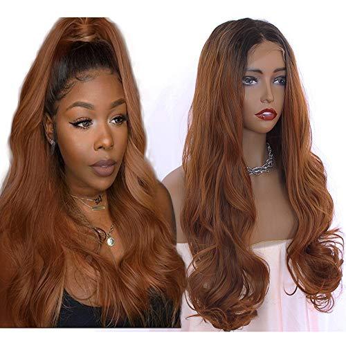 Missyvan, parrucca con capelli castani, capelli biondi, capelli sintetici, con pizzo frontale, resistente al calore, ondulato naturale
