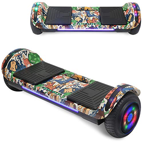 """TPS 6.5"""" Hoverboard Electric Self Balancing Scooter with LED Wheels and Lights - UL2272 Certified (Chrome Purple)"""
