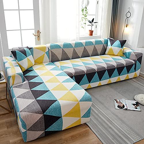 Funda Sofas 2 y 3 Plazas Costura Triangular Fundas para Sofa con Diseño Elegante Universal,Cubre Sofa Ajustables,Fundas Sofa Elasticas,Funda de Sofa Chaise Longue,Protector Cubierta para Sofá
